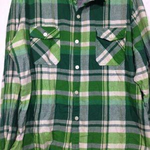 Slade Wilder Tops - Spade Wilder Green Plaid Flannel Shirt XL
